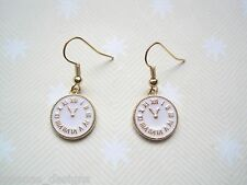 ENAMEL CLOCK FACE GP Charm EARRINGS GIFT BAG White Gold Alice in Wonderland