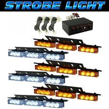 54 WHITE & AMBER LED 6 BARS Emergency Warning Strobe Lights Bars Deck Dash Grill