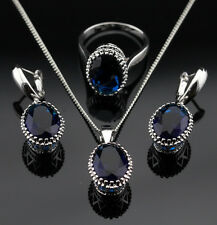 925 Silver SAPPHIRE BLUE Crystal Earrings Necklace Ring SIZE 8 Jewelry Set GIFT