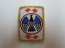 NATIVE AMERICAN BEAUTIFULLY FULLY BEADED TANNED HIDE CARD HOLDER 3X4 INCH