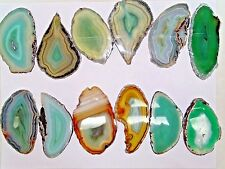 """BULK  POLISHED DYED GREEN  AGATE SLICES 2.86""""- 3.29"""" LONG   - 12 PC.LOT"""