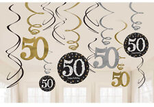 12 x 50th Birthday Hanging Swirls Black Silver Gold Party Decorations Age 50