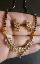 Cubic Zirconia Gold Black Bead Indian Wedding 7'' Mangalsutra Necklace Earrings;
