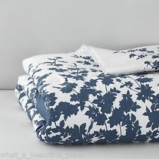 4-Pc Barbara Barry Kimono King Duvet Set Blue White Japanese Floral Mini Dots
