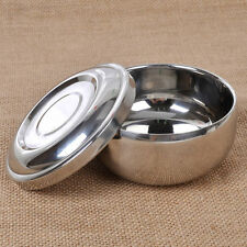 New Pro Stylish Shinning Double Layer Shaving Mug Stainless Steel  Bowl With Lid