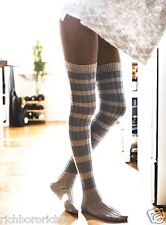 NWT Free People gray blue Hideaway Striped Over The Knee Thigh High Socks O/S