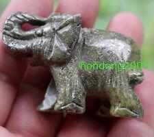 Natural pyrite Crystal Gemstone Hand Carved Elephant Figurine 2''