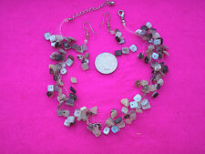 COLLECTABLE NECKLACE EARRINGS SET MOTHER OF PEARL SHELL SQUARE BEADS