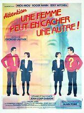 Affiche 120x160cm ATTENTION UNE FEMME PEUT EN CACHER UNE AUTRE 1983 Miou-Miou