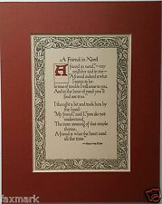 """A Friend in Need    1912 Canterbury Catchwords Saying       Matted  to 8 x 10"""""""