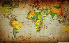 The old World Map large Vintage Style Retro Poster Home decor  40 x24 Decor 46