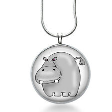 Hippo Necklace - Animal Jewelry - Zoo Pendant