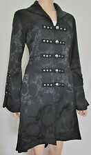 Stunning Hearts & Roses Gothic Goth Victorian Military Frock Coat, Black Size 12