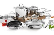 New Wolfgang Puck 18 Piece Cookware Set Stainless Steel Pots & Pans Glass Lids