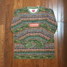 New Supreme Paisley Stripe L/S Top Tee T-Shirt Olive Spring Summer 2016 Size XL