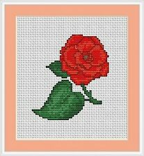 Red Rose Cross Stitch Kit - Luca S - Beginner 8cm x 9cm