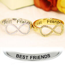 2PCS Silver & Gold Letter Best Friends Engraved Friendship Infinity Ring Jewelry