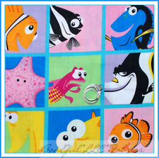 BonEful Fabric FQ Cotton Quilt VTG Disney Pixar FINDING NEMO Fish Vacation Beach