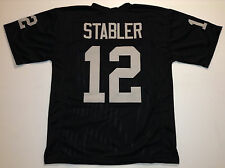 Oakland Raiders Ken Stabler UNSIGNED CUSTOM Black Jersey - XL