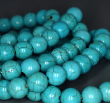 10MM TURQUOISE GEMSTONE HOWLITE BLUE ROUND 10MM LOOSE BEADS 8""
