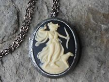 *GODDESS DIANA W/ DOG, THE HUNTRESS CAMEO ANTIQUED SILVER PLATED LOCKET