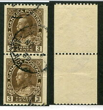 Used Canada 3 Cent KGV Admiral Perf 12 Vertically Coil Pair #134 (Lot #9481)