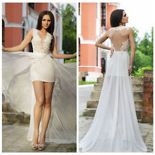 Short Wedding Dress Lace Beach Bridal Gowns Detachable Skirt 4 6 8 10 12 14 16+