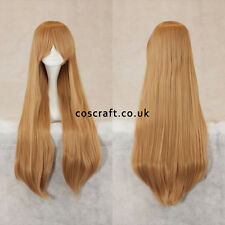 80cm long straight cosplay wig with fringe in caramel blonde, UK SELLER, Alex