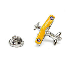 Yellow Winged Biplane with Roundel LAPEL PIN BADGE RAF Pilot Birthday Present