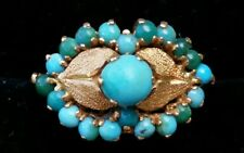Antique 18k Yellow Gold Turquoise Flower Cocktail Ring Estate Jewelry Ladies