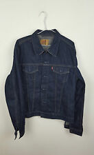 VTG RETRO LEVIS DARK BLUE OVERSIZED FESTIVAL TRUCKER DENIM JACKET VGC UK 10
