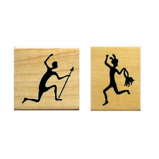 TRIBAL Dancer & Hunter set, mounted rubber stampS, Africa #17