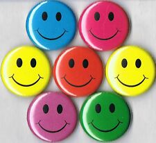 smiley face set of 7 pins buttons badges lot yellow red blue green purple