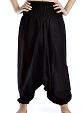 INDIAN 100% COTTON BLACK ALIBABA HAREM PANT UNISEX TROUSERS BAGGY HIPPIE YOGA