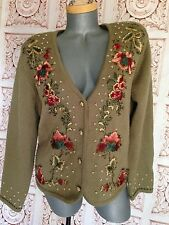 SUSAN BRISTOL Embroidered Flowers Sweater Size L Large Vintage 90s Cardigan Wool