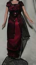 BARBIE TITANIC RED CRIMSON BLACK LACE GOWN FASHION DRESS FOR DOLL