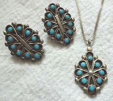 Signed Vintage ZUNI Sterling Silver & Petit Point TURQUOISE Set EARRINGS PENDANT