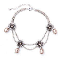 Vintage Silver Crystals Flower Pearls Pendent Collar Necklace