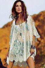 Señoras Encaje Sexy Off Hombro Lacy casual/beachwear Blanco s/sleeve encubrimiento Top