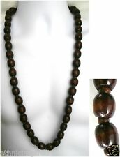 "ETHNIC INSPIRED: MENS HANDMADE BROWN EXTRA CHUNKY 16MM WOOD 33"" LONG NECKLACE"