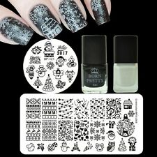 Black White Nail Art Stamping Polish & Christmas Stamp Stencil  Plates Kit DIY