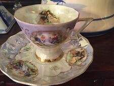 VINTAGE LEFTON IRIDESCENT TEA CUP AND SAUCER HANDPAINTED  ROMANTIC SCENE110
