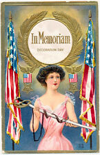 Flags and Young Woman with Sword Decoration Day Memorial Day Patriotic Postcard