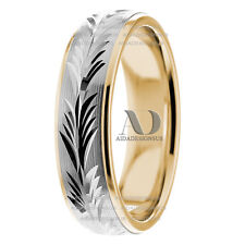Brand New Leaf Hand Engraved 6mm Wide Pure 14K Gold Two Tone Wedding Band Ring