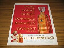 1964 Print Ad Old Grand Dad Bourbon Whiskey in Decanter 100 Proof