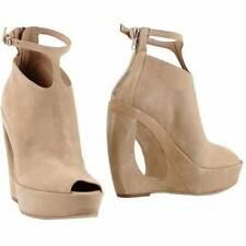 ANN DEMEULEMEESTER  Cut Out  Suede Peep Toe Wedge Ankle Boot Booties Heels Sz 39