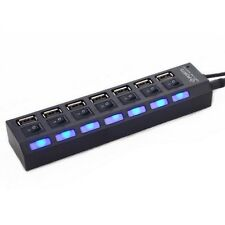 Super 7 Ports USB 2.0 Hub with On/Off Switch EU AC Power Adapter for PC Laptop