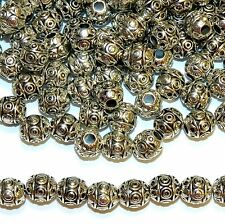 MBXL7279L2 Circle & Line Deco 6mm Round Drum Antiqued Silver Metal Beads 100/pkg