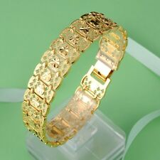 """Newest style 18K Yellow Gold Filled Charm Bracelet GF 16mm Watch Chain 7.7""""Link"""