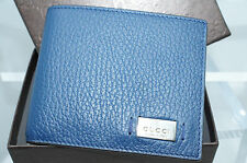 NEW Gucci Men's Blue Wallet Bi-Fold Metal Tag Signature GG Logo Credit Card Case